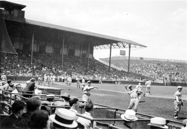 The original model envisioned the roof extending over both the left-field pavilion (shown) and the right-field pavilion.